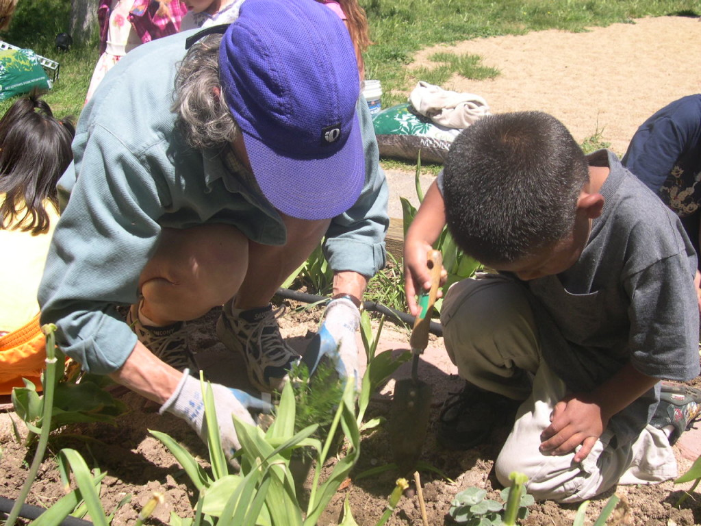 A master gardener and a youth work together gardening