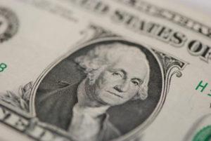 Close up of George Washington on $1 bill